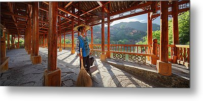 Metal Print featuring the photograph Panorama - Hi-res - Wooden Bridge And It's Cleaner by Afrison Ma