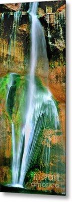 Metal Print featuring the photograph Panorama Lower Calf Creek Falls Escalante Nm Utah by Dave Welling