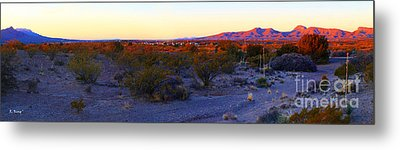 Panorama Morning View Of Mountains Metal Print by Roena King