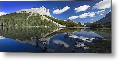 Panorama Of A Mountains Reflecting On A Metal Print by Michael Interisano