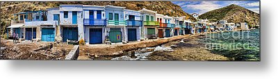 Panorama Of Tiny Colorful Fishing Huts In Milos Metal Print by David Smith