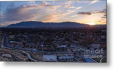 Panorama Of Albuquerque And Sandia Mountain At Sunrise From Pat Hurley Park - Albuquerque New Mexico Metal Print