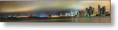 Panorama Of Biscayne Bay In Miami Florida Metal Print by Andres Leon