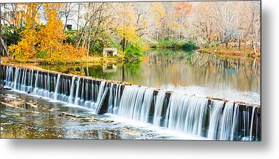 Panorama Of Buck Creek In Autumn Metal Print by Parker Cunningham