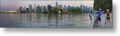 Panorama Of Coal Harbour And Vancouver Skyline At Dusk Metal Print by David Smith