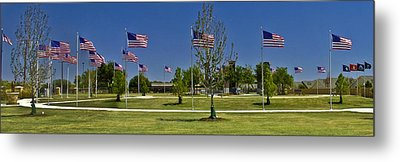 Metal Print featuring the photograph Panorama Of Flags - Veterans Memorial Park by Allen Sheffield