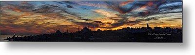 Panorama Of Istanbul Sunset- Call To Prayer Metal Print