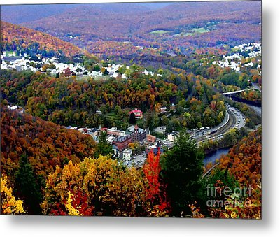 Panorama Of Jim Thorpe Pa Switzerland Of America - Abstracted Foliage Metal Print by Jacqueline M Lewis