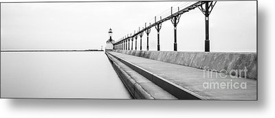 Panorama Of Michigan City Lighthouse Black And White Photo Metal Print