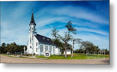 Panorama Of Sts. Cyril And Methodius Catholic Church - Dubina Texas Metal Print by Silvio Ligutti
