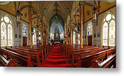 Panorama Of Nativity Of Mary Painted Church In High Hill Texas Metal Print by Silvio Ligutti