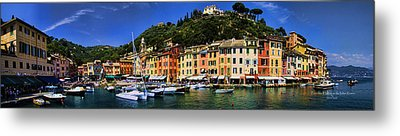 Panorama Of Portofino Harbour Italian Riviera Metal Print by David Smith