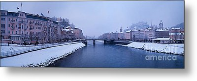 Panorama Of Salzburg In The Winter Metal Print by Sabine Jacobs
