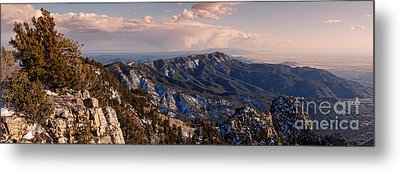 Panorama Of Sandia And Manzano Mountains From The Tramway Terminal - Albuquerque New Mexico Metal Print