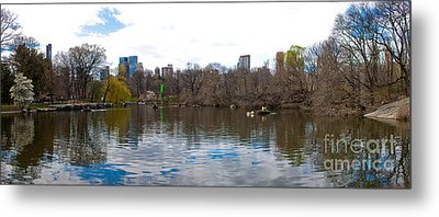 Panorama Of The Lake Of Central Park New York City Metal Print by Thomas Marchessault