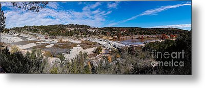 Panorama Of The Mighty Pedernales River In The Fall Season - Johnson City Texas Hill Country Metal Print by Silvio Ligutti