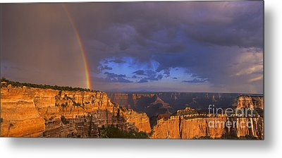Metal Print featuring the photograph Panorama Rainbow Over Cape Royal North Rim Grand Canyon National Park by Dave Welling