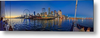 Panorama Seattle Skyline 2 Boats And A Ferris Wheel Metal Print by Scott Campbell