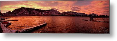 Panorama Sunset Skaha Lake Metal Print