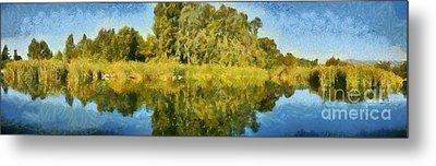 Panoramic Painting Of Ducks Lake Metal Print by George Atsametakis