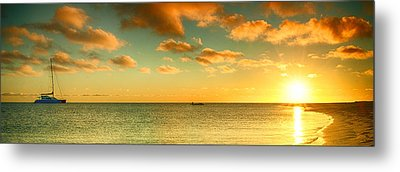 Panoramic Photo Sunrise At Monky Mia Metal Print by Yew Kwang