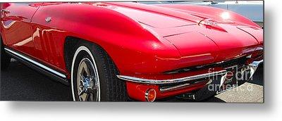 panoramic red Corvette Metal Print