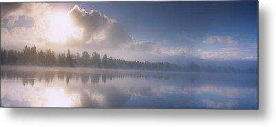 Panoramic View Of A River At Dawn Metal Print by Panoramic Images