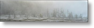 Panoramic View Of Early Morning Mist Metal Print by Robert Postma