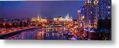 Panoramic View Of Moscow River And Moscow Kremlin  - Featured 3 Metal Print by Alexander Senin