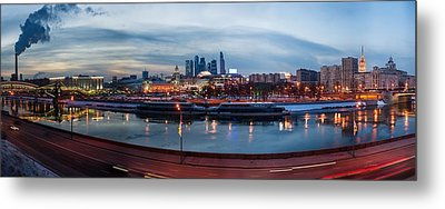 Panoramic View Of Moscow River - Kiev Railway Station And Square Of Europe - Featured 3 Metal Print by Alexander Senin