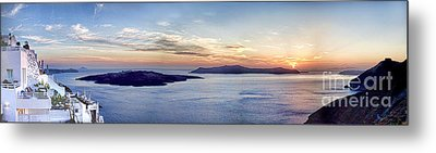 Panorama Santorini Caldera At Sunset Metal Print by David Smith