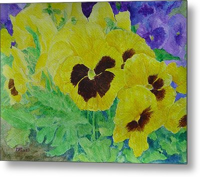 Pansies Colorful Flowers Floral Garden Art Painting Bright Yellow Pansy Original  Metal Print by Elizabeth Sawyer