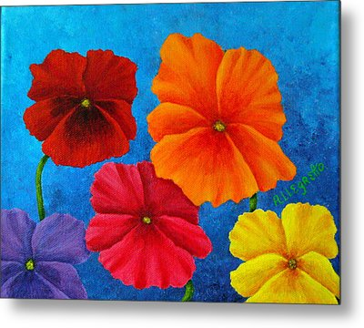 Pansies For Rosalina Metal Print by Pamela Allegretto