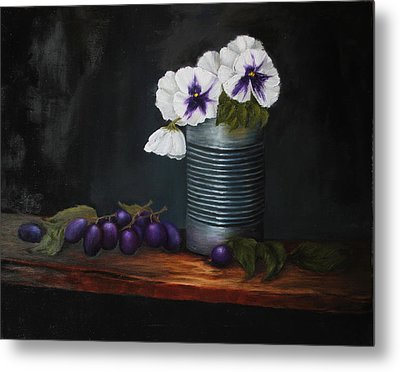 Pansies In Tin Can Metal Print