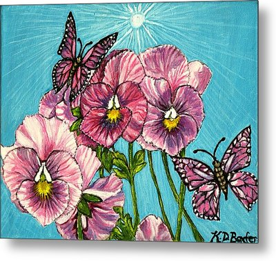 Metal Print featuring the painting Pansy Pinwheels And The Magical Butterflies by Kimberlee Baxter