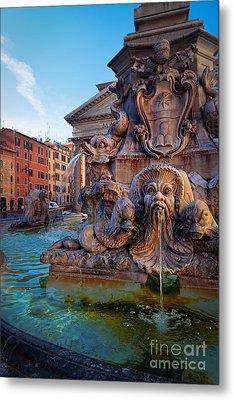 Pantheon Fountain Metal Print