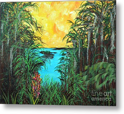 Metal Print featuring the painting Panther Island In The Bayou by Alys Caviness-Gober