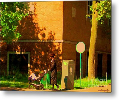 Papa And The Little Ones Sunday Afternoon Stroll On The Avenues Montreal City Scene Carole Spandau Metal Print by Carole Spandau