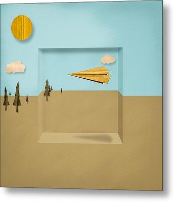 Paper Airplanes Of Wood 12 Metal Print