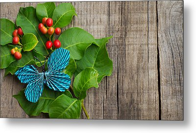 Paper Butterfly Metal Print by Aged Pixel
