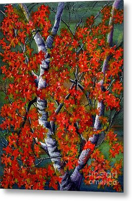Paper White Birch Reflections Metal Print by Janine Riley