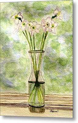 Metal Print featuring the painting Paper Whites In Sunlight by Angela Davies