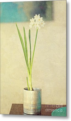Paper Whites On Table Metal Print by Susan Gary