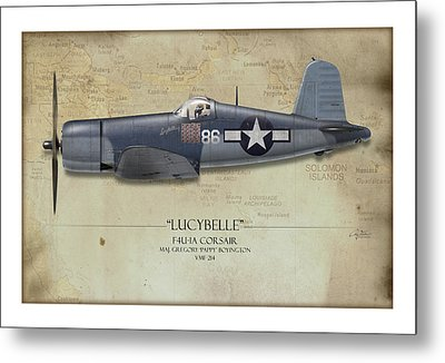 Pappy Boyington F4u Corsair - Map Background Metal Print
