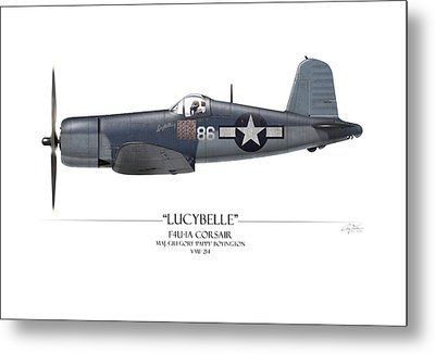 Pappy Boyington F4u Corsair - White Background Metal Print by Craig Tinder