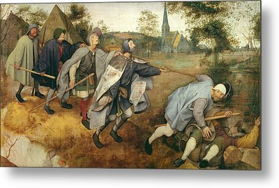 Parable Of The Blind, 1568 Tempera On Canvas Metal Print