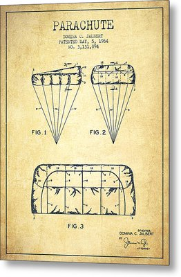 Parachute Design Patent From 1964 - Vintage Metal Print