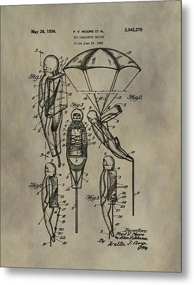 Parachute Toy Patent Metal Print by Dan Sproul