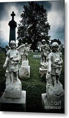 Parade Of Angels Statues At Cemetery Metal Print