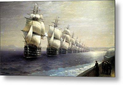 Parade Of The Black Sea Fleet In 1849 Metal Print